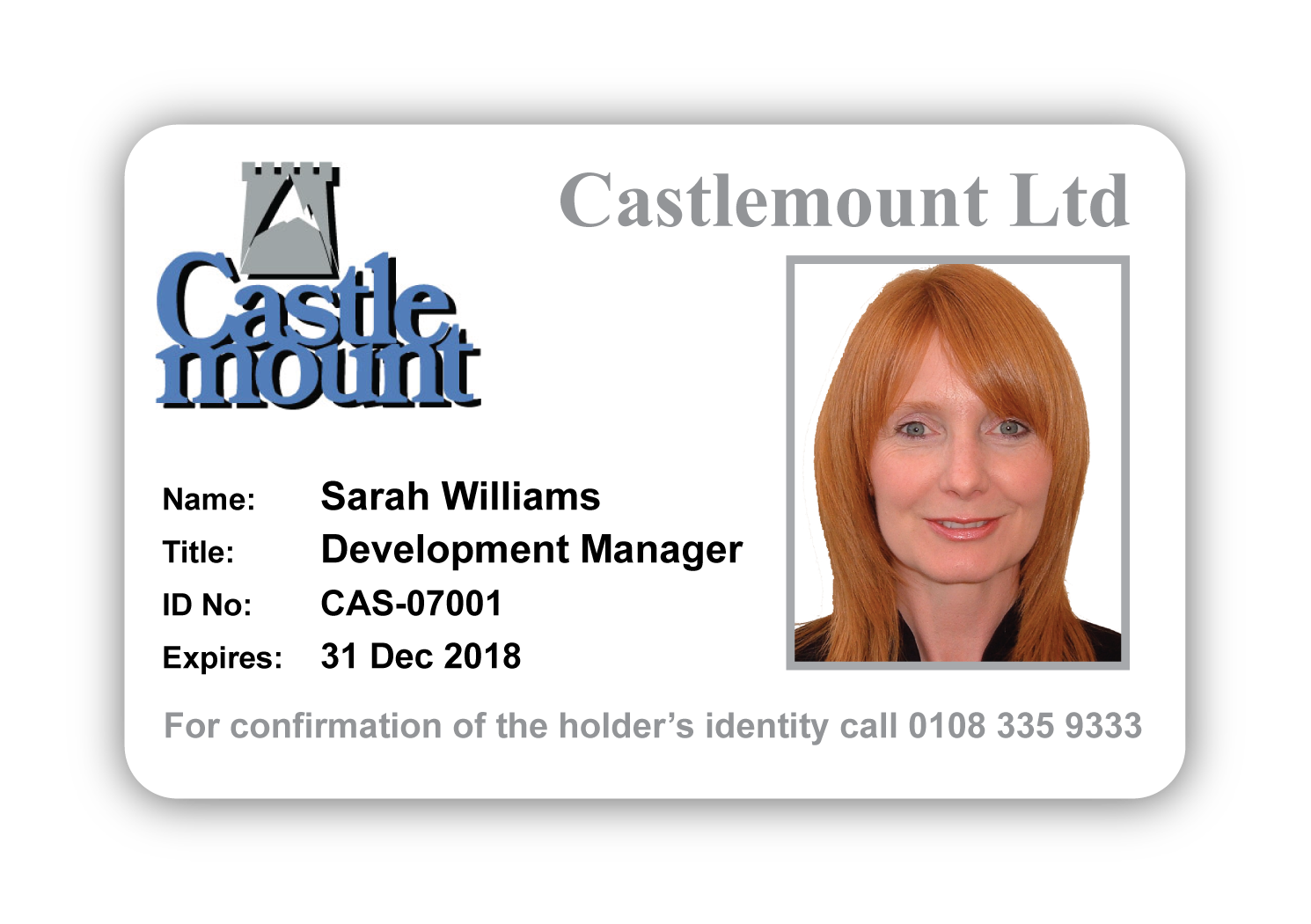 Sample ID Card with Castlemount Logo