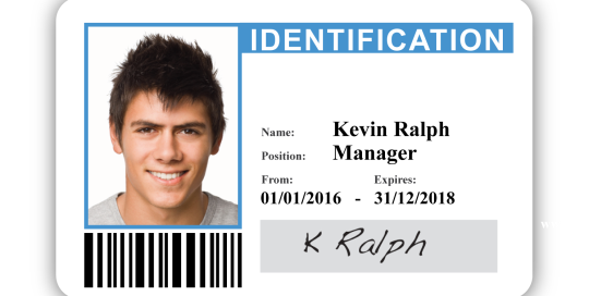 Identification Card with Signature strip