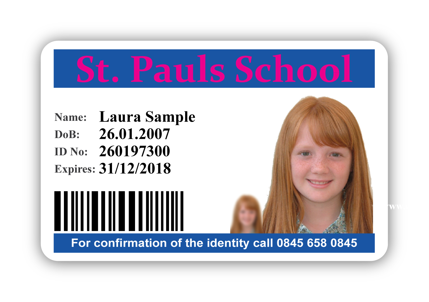 Primary School ID card Sample