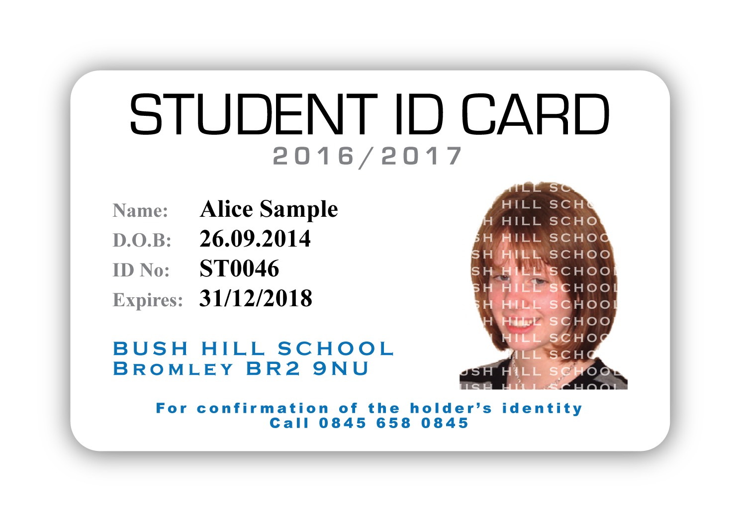 Bush hill school student id castlemount for School id badge template