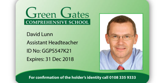 Colourful Green Gates Sample ID card Design