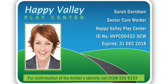 Colourful Happy Valley ID Card Sample. Printers of School ID Badges, Staff ID Badges