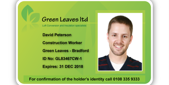 Colourful Green Leaves ID Card Sample
